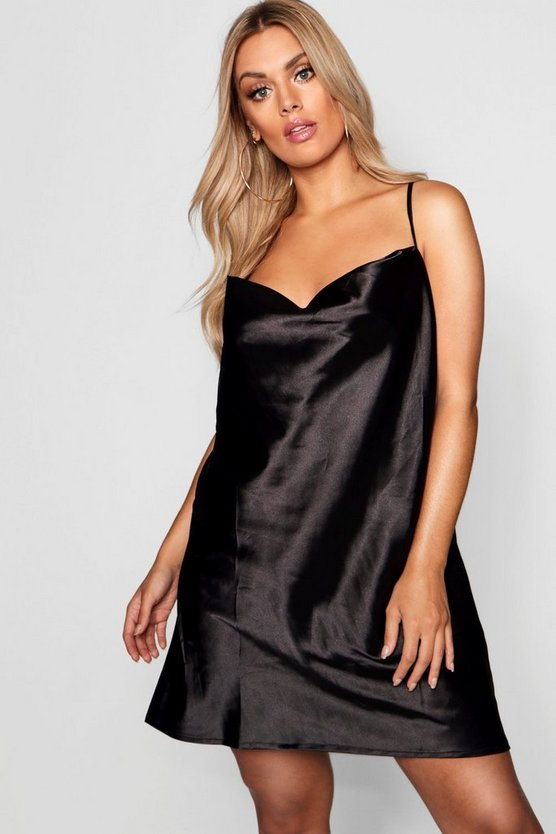 Plus Satin Cowl Neck Mini Dress