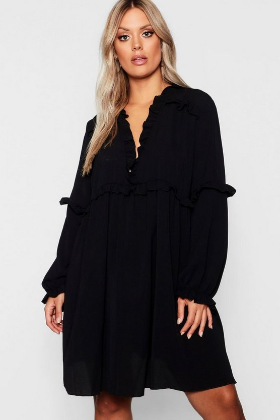 Plus Ruffle Detail Plunge Smock Dress
