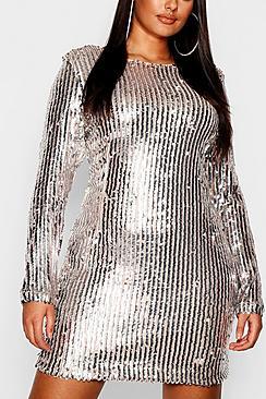 Plus Scoop Back Sequin Bodycon Dress
