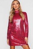 49a05d56cfee ... Womens Pink Gemma Collins High Neck Sequin Shift Dress alternative image