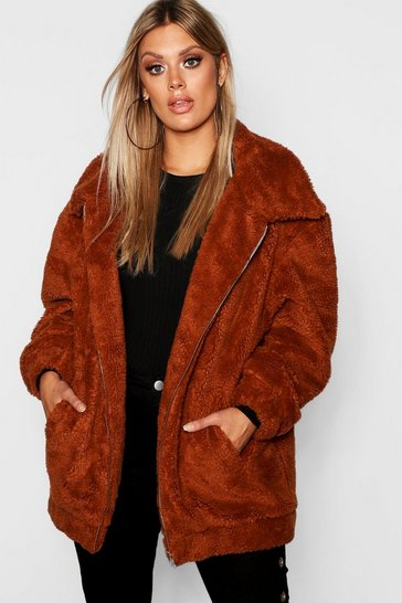 Womens Rust Plus Oversized Teddy Faux Fur Jacket