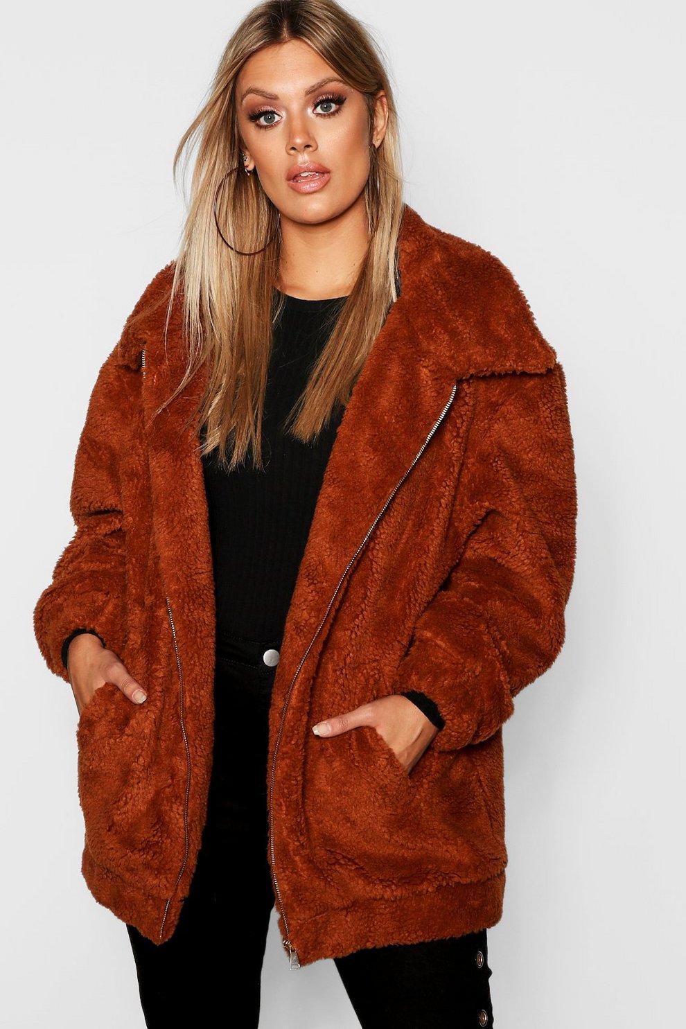4b316c81c5 Plus Oversized Teddy Faux Fur Jacket