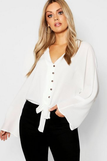 Womens Ivory Plus Oversized Horn Button Tie Shirt