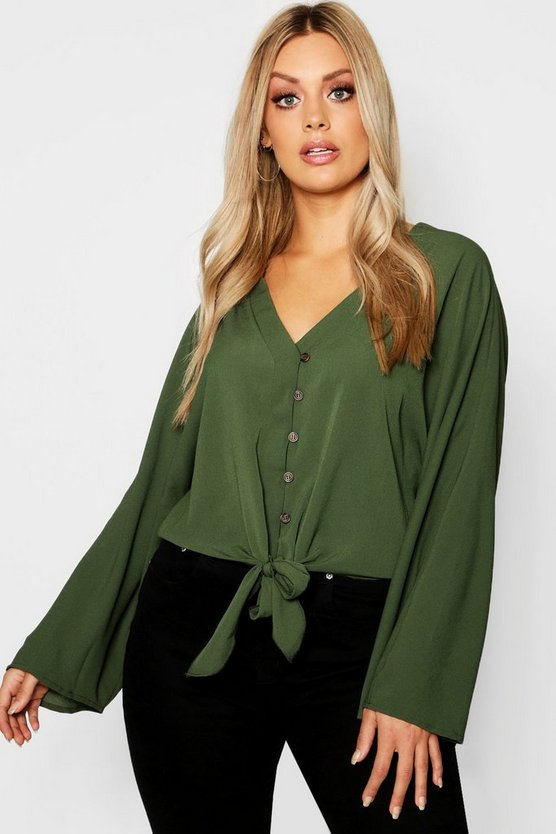 Womens Khaki Plus Oversized Horn Button Tie Shirt