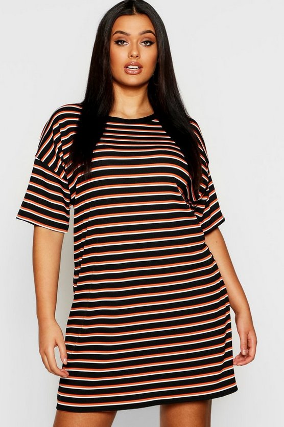 Plus Multi  Stripe Oversized T-Shirt Dress