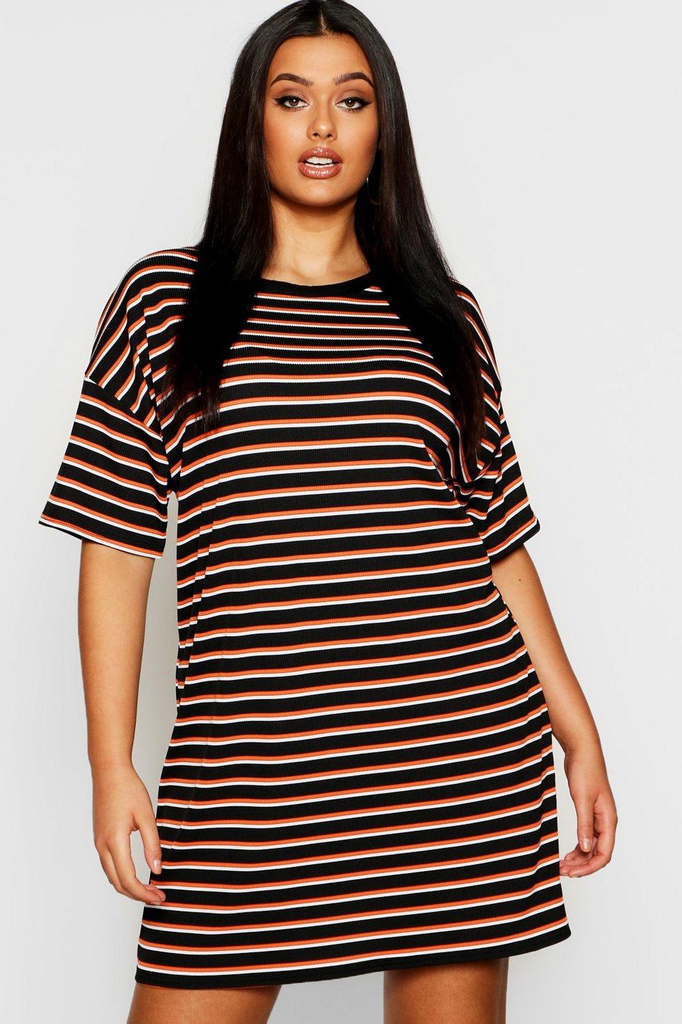6d8b36f6f5b Womens Black Plus Multi Stripe Oversized T-Shirt Dress