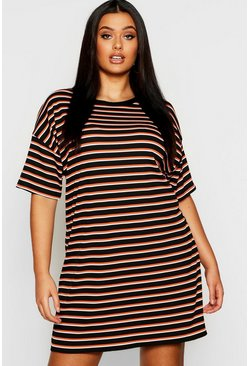 Womens Black Plus Multi  Stripe Oversized T-Shirt Dress