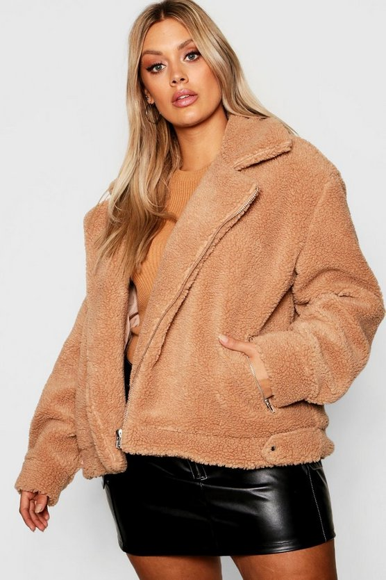 Plus Teddy Faux Fur Aviator Jacket