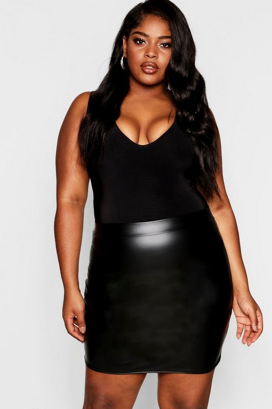 Plus Matte Leather Look Jersey Skirt