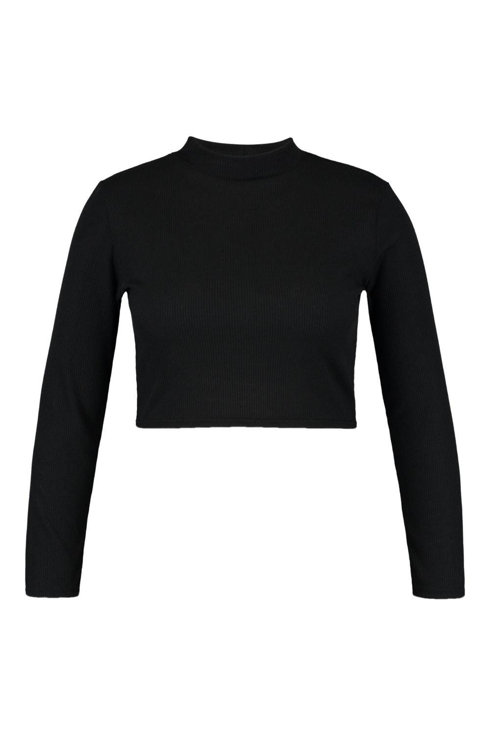 black Rib High Sleeve Neck Long Plus Top P81RYnn