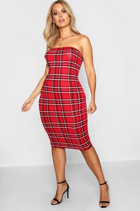 Plus Tartan Bandeau Midi Dress