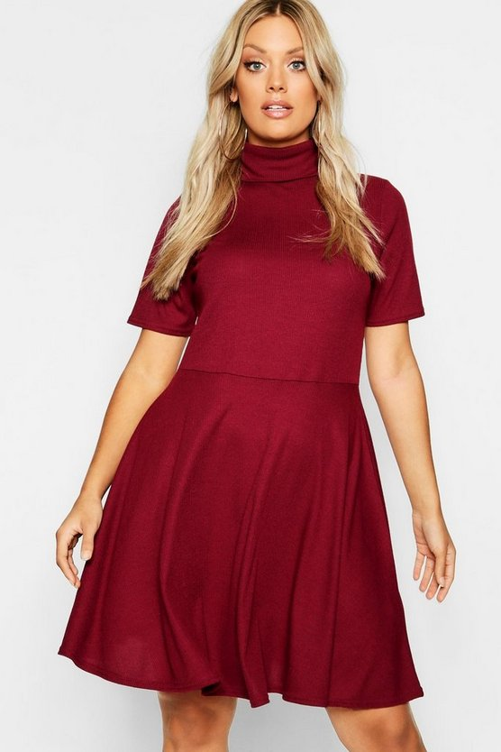 Plus Rib Half Sleeve High Neck Skater Dress
