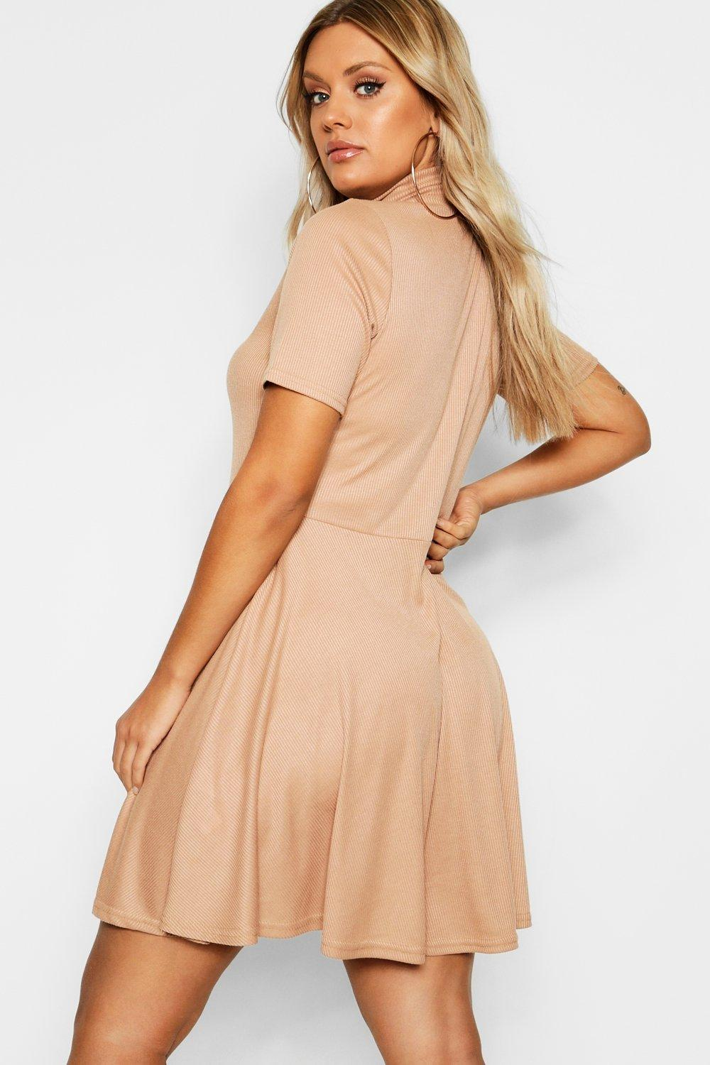6a4cace23c Plus Rib Half Sleeve High Neck Skater Dress. Hover to zoom. Close video