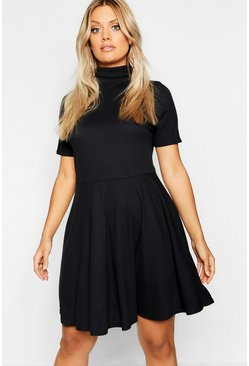 Womens Black Plus Rib Half Sleeve High Neck Skater Dress