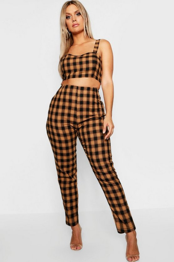 Womens Tan Plus Check Tailored Tapered Trouser