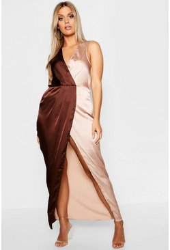 Womens Chocolate Plus Satin Colour Block Wrap Maxi Dress