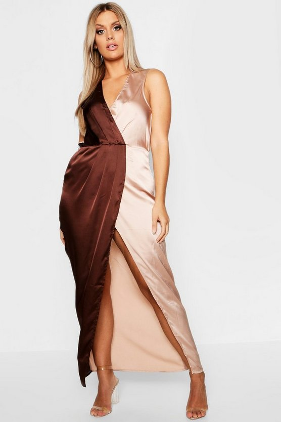 Plus Satin Colour Block Wrap Maxi Dress