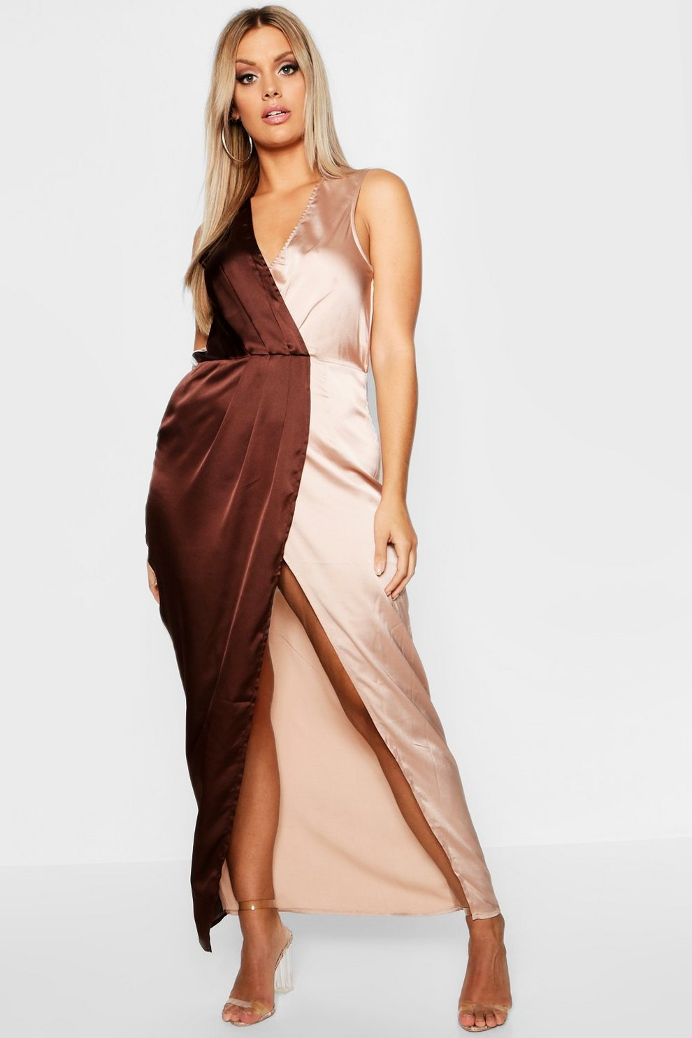 bd7815630e9 Plus Satin Colour Block Wrap Maxi Dress