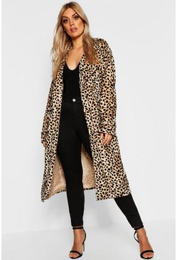 Womens Tan Plus Leopard Faux Fur Trench Coat
