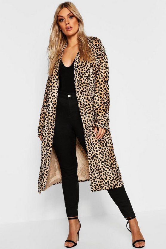 Plus Leopard Faux Fur Trench Coat