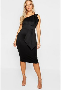 Black Plus One Shoulder Pleated Detail Midi Dress