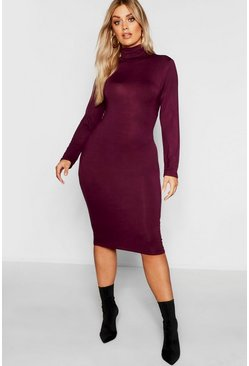 Womens Berry Plus Long Sleeve Roll Neck Midi Dress