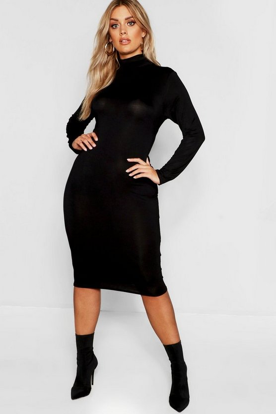 Womens Black Plus Long Sleeve Roll Neck Midi Dress