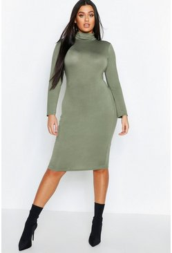 Womens Khaki Plus Long Sleeve Roll Neck Midi Dress