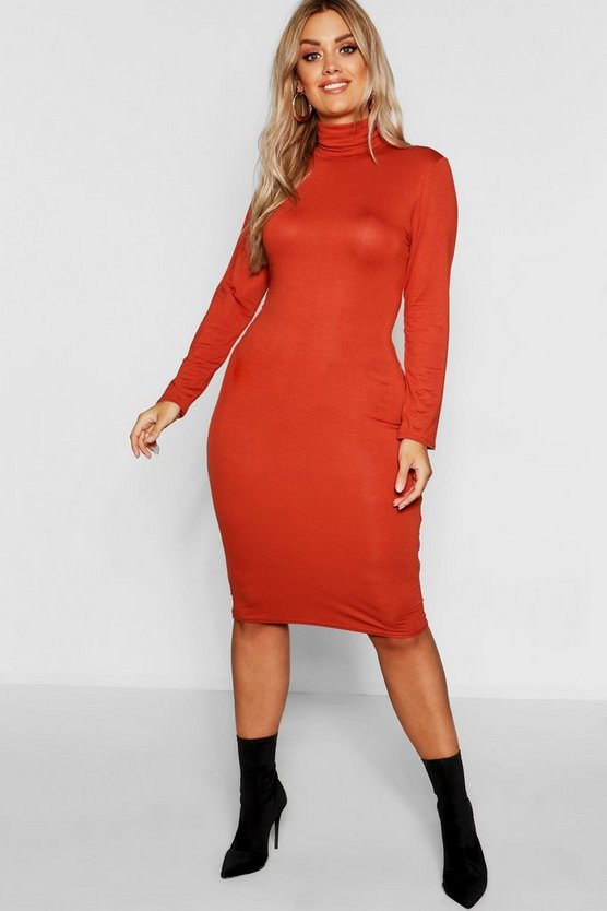 Womens Rust Plus Long Sleeve Roll Neck Midi Dress