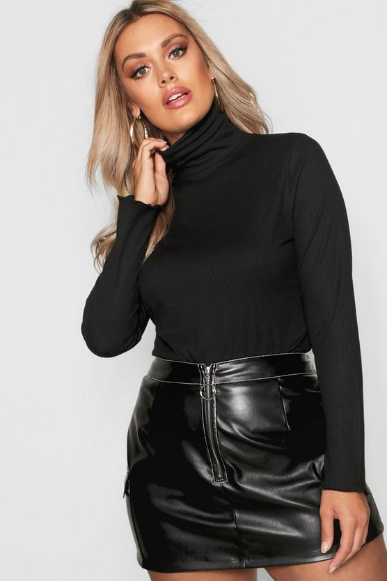 Black Plus Lettuce Hem Rib High Neck Top