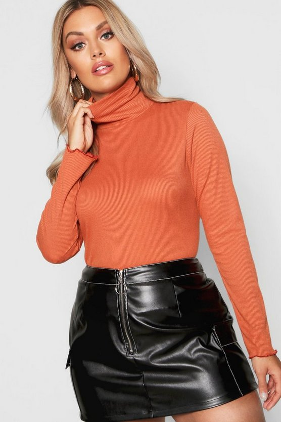 Womens Rust Plus Lettuce Hem Rib High Neck Top