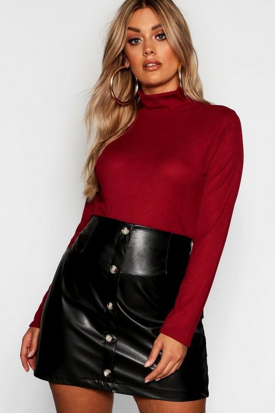 Womens Wine Plus Rib Turtle Neck Sweater