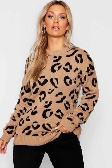 Womens Camel Plus Leopard Knitted Jumper