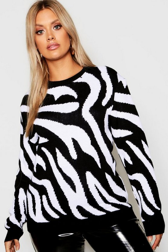 Womens Black Plus Zebra Knitted Jumper