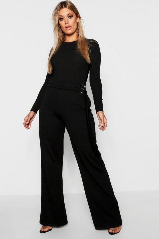 Womens Black Plus Crepe Double Ring Belt Wide Leg Trouser