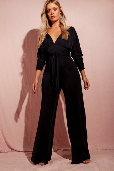 Womens Black Plus Batwing Drape Front Slinky Jumpsuit