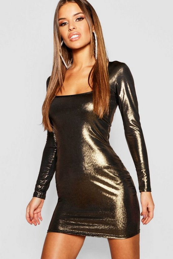 Petite Metallic Long Sleeve Bodycon