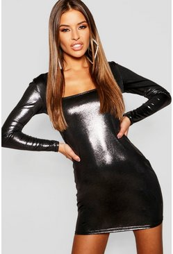Silver Petite Metallic Long Sleeve Bodycon