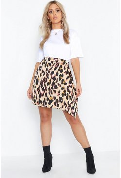 Womens Tan Plus Animal Mini Wrap Skirt