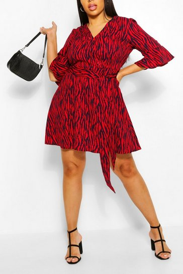 Womens Red Plus Animal Print Horn Button Skater Dress