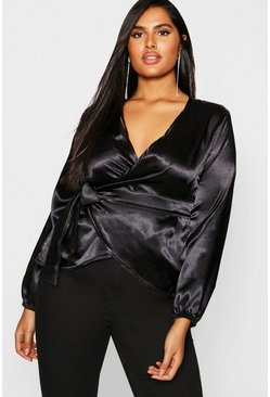Womens Black Plus Satin Wrap Tie Top