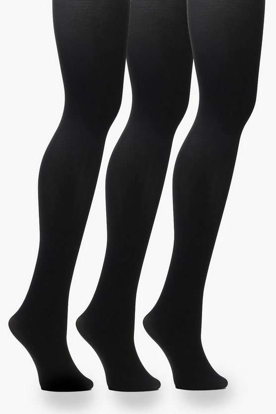 Plus 60 Denier 3 Pack Tights, Black, Donna