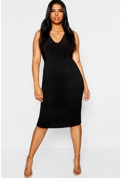 Womens Black Plus Basic Bodycon Midi Skirt