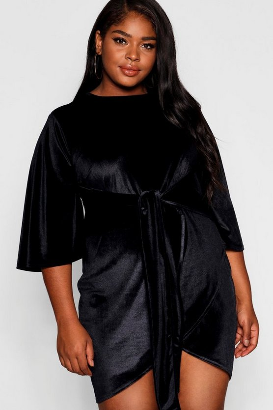 Plus Velvet Kimono Sleeve Tie Waist Wrap Dress