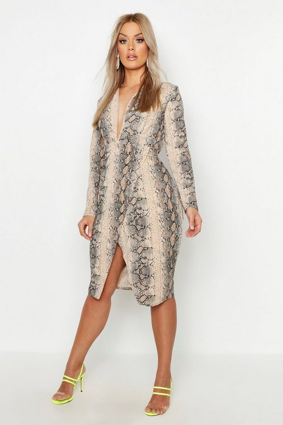 Womens Stone Plus Snake Print Plunge Wrap Midi Dress
