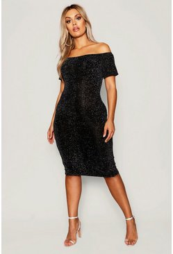 Silver Plus Shimmer Off Shoulder Midi Dress