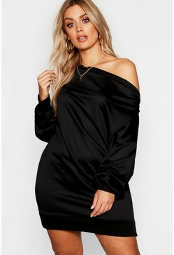 Womens Black Plus Off The Shoulder Sweat Dress