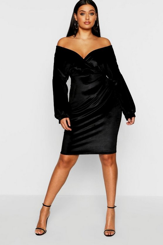 Plus Off The Shoulder Velvet Wrap Mini Dress
