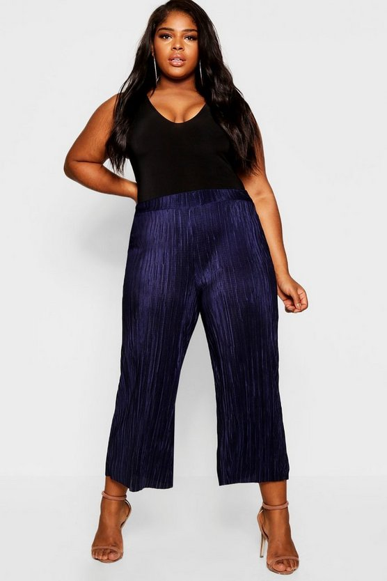 Plus Wide Leg Pleated Culotte