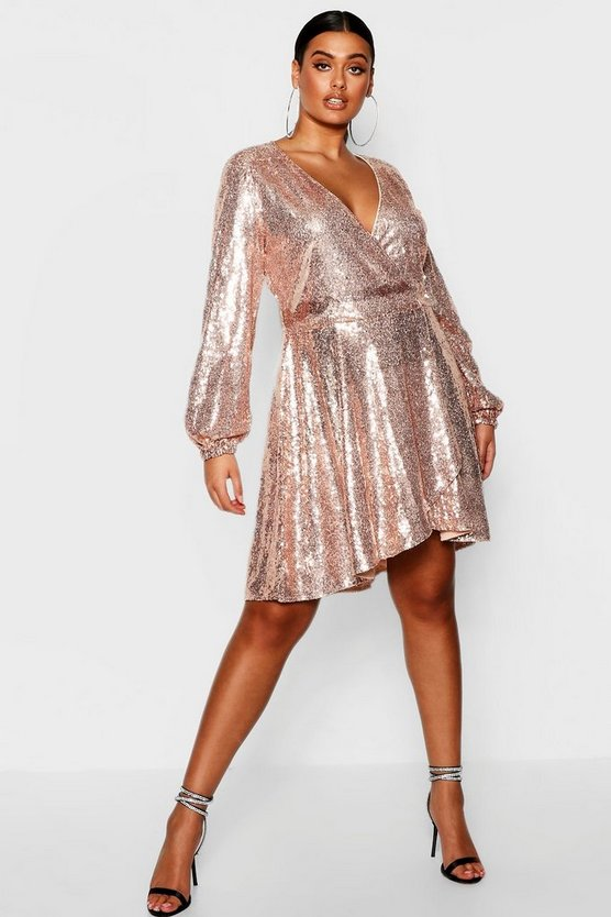 Plus Asymmetric Hem Sequin Skater Dress